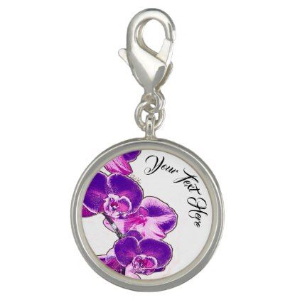 Orchids Personalized Charms - purple floral style gifts flower flowers diy customize unique