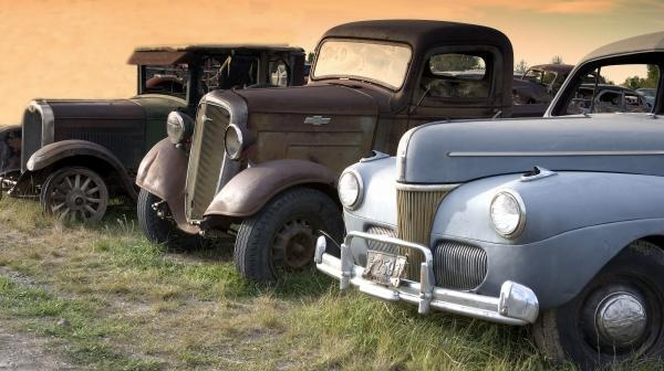 Antique Cars Along the Road in Rural America
