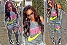 Nike Sweat Suits | Ashanti Rocks An Around The Way Girl Look In A Nike Sweatsuit & Air .