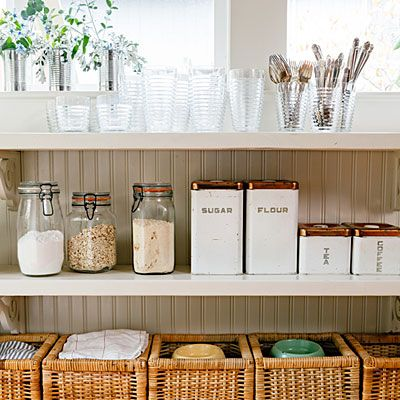 """Make big reveals """"I don't like to hide things in the kitchen. Open shelving holds things I use every day—dishes, dry goods that I store in apothecary jars, plates, even my family's silver,"""" Vicki explains of a design strategy that keeps useful items accessible and aesthetically pleasing."""