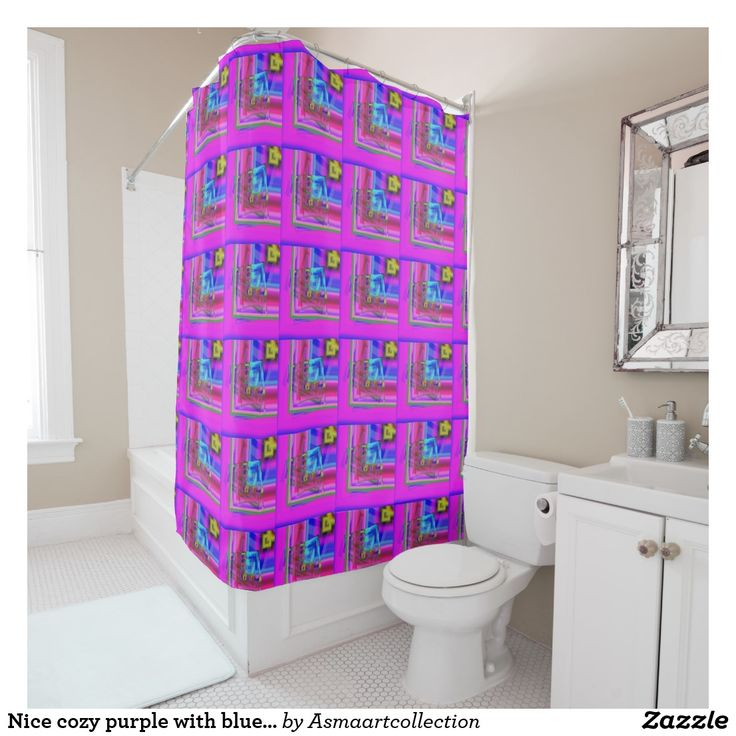 Nice cosy purple with blue shades patter design shower curtain Cute Colorful Floral A monogrammed Pattern Girly Baby T-Shirt #amazing lovely pattern baby #kids gift #design colors