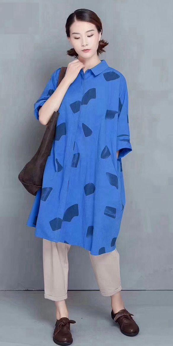 31c0614daae Cute Print Cotton Long Shirt Women Casual Fall Blouse 811