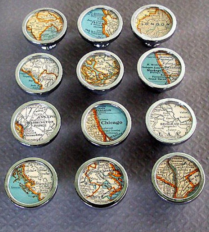 Hand-crafted vintage map drawer pulls will grace your drawers or cabinets in style. Each chrome steel knob holds a vintage 1935 map in the city of your choice.