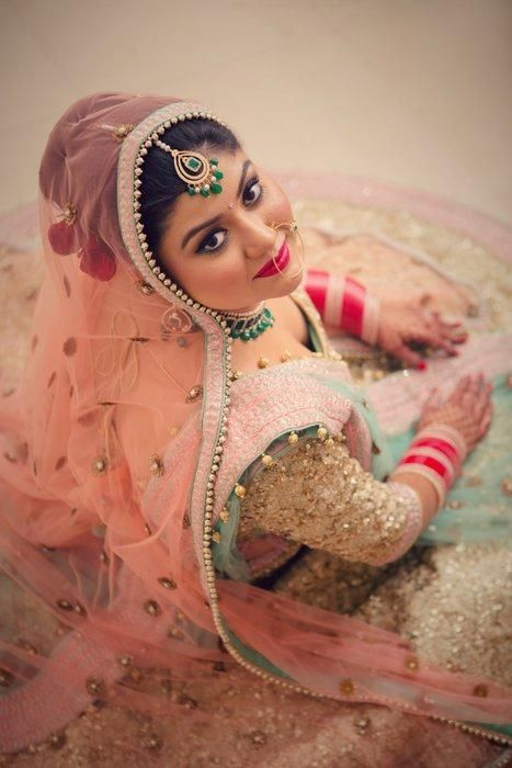 Sikh Wedding Brides - Beautiful blush pink dupatta with mint lehenga | WedMeGood #wedmegood #mintlehenga #sikh #brides