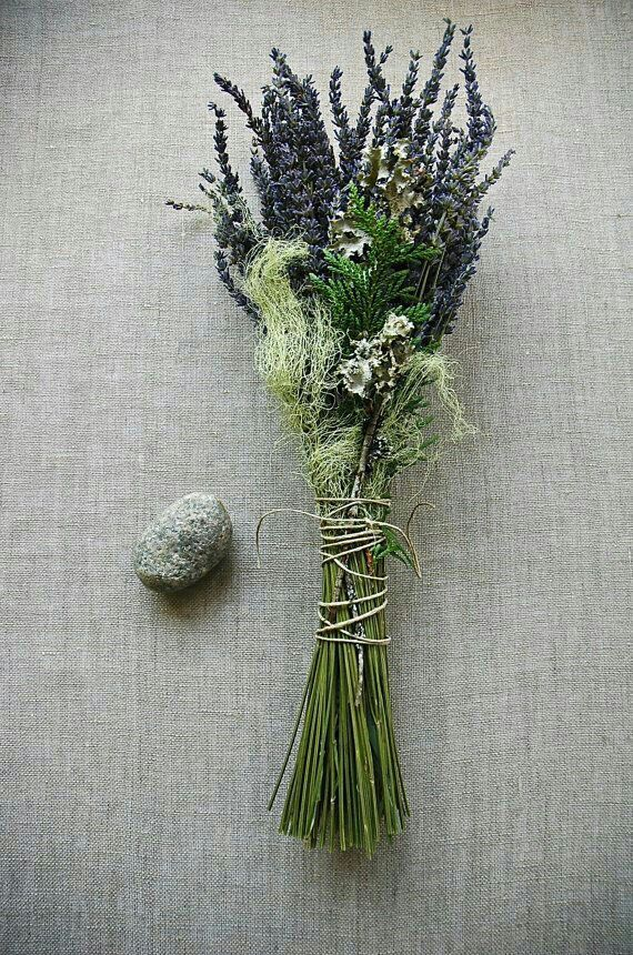 """Natural""/Rustic/Country/Shabby Chic Bridal Wedding Florals: French Lavender, Green Cedar, Lichens, & Light Green Moss Hand Tied With Organic Hemp Twine>>>>"