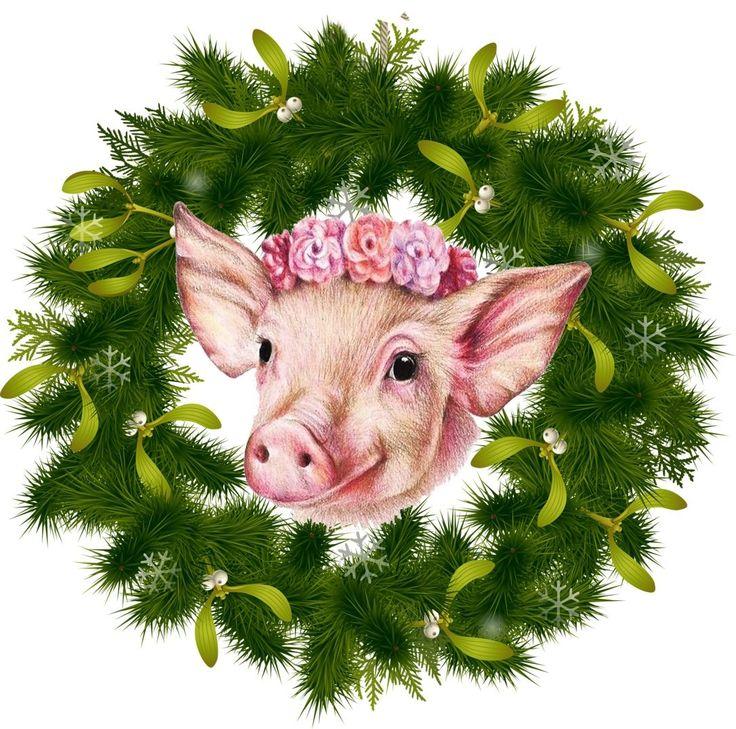 Для, прикольные свинки картинки новогодние