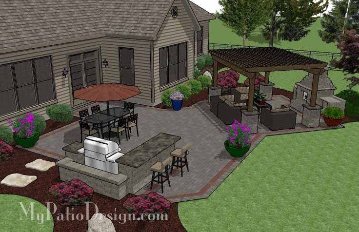 Large Brick Patio Design with Outdoor Fireplace, 12 x 16 Cedar Pergola and Grill Station with Attached Bar. | Plan No. 1151rr | Download Installation Plan at MyPatioDesign.com