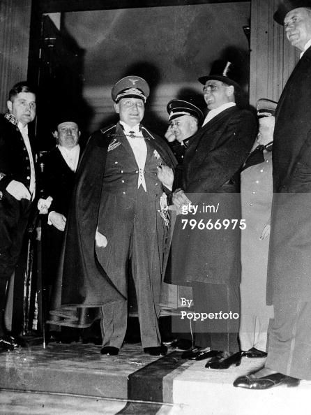 Hermann Göring laughing with Rudolf Hess and Heinrich Himmler after a Berlin dinner on March.26, 1935
