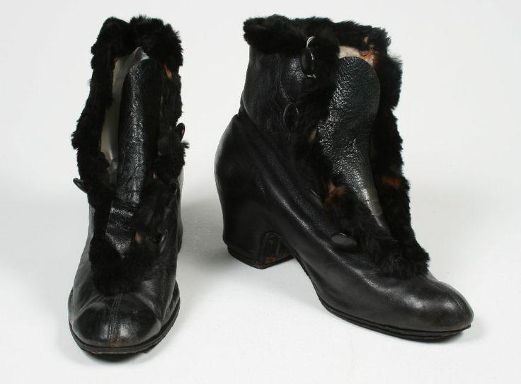 Damesschoenen zwart leer met bont