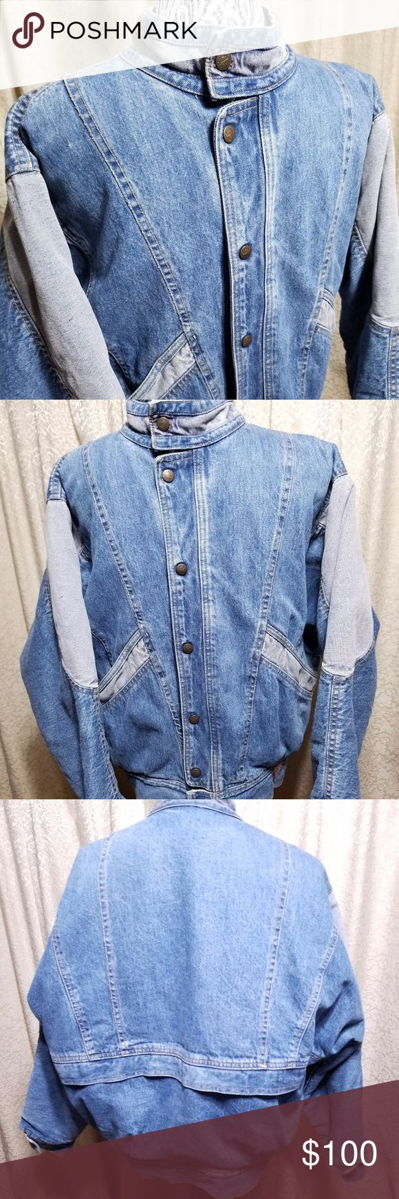 """80s Marciano for GUESS Mens Denim Bomber Jacket Vintage Georges Marciano for Guess 80's Men's Jean Jacket - EUC, no flaws.  This jacket is similar to the popular """"McFly"""" style denim jacket by GUESS with slight differences.  Features two-tone blue denim, puffed bomber style jacket, snap closures, and vintage GUESS Logo.  This style is near impossible to find anywhere so grab it while you can!  Marked Men's M   -----  Could definitely be worn by a woman Guess by Marciano Jackets & Coats Bomber…"""