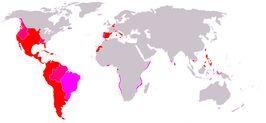 kaart van het Spaanse Rijk in zijn grootste omvang.