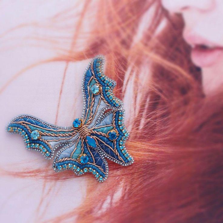 """Купить Брошь-бабочка """"Морская"""" - брошь бабочка, бабочка, брошка, цвет морской волеы"""