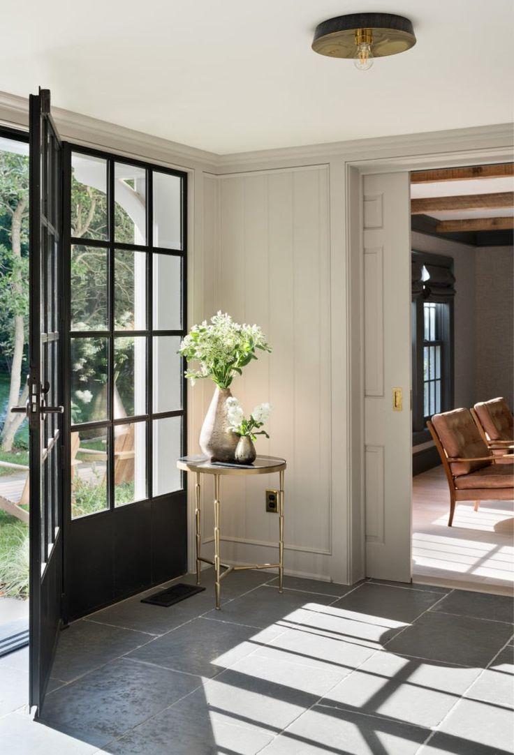entrywaysteelwindowsdoorgraytilefarmhouserenovation  Ideas for the House  Farmhouse