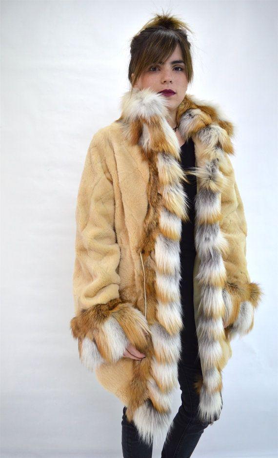 Real beige nutria sheared fur coat  red fox fur real red by BeFur