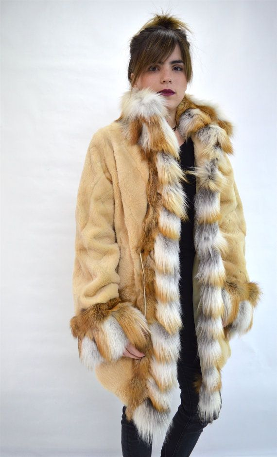 Real beige nutria sheared fur coat  red fox fur real red by BeFur