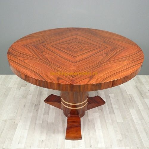 Art Deco eetkamer tafel mahonie 5 tot 6 personen | Le Chique Wonen