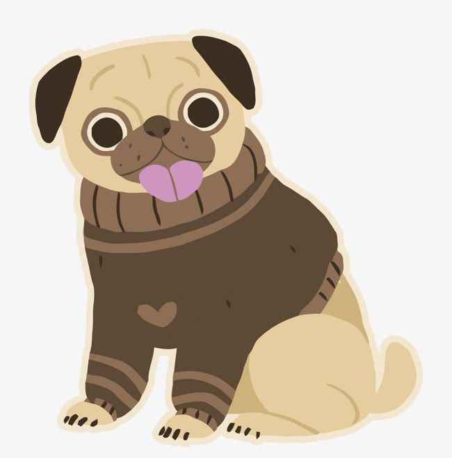 Vector Cartoon Little Dogs Pugs Cartoon