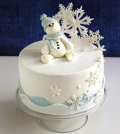 Snowman Snowflake Cake