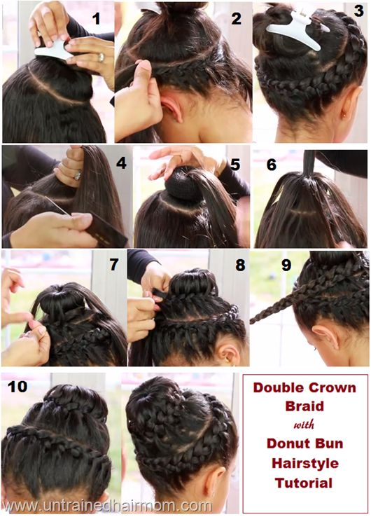 Double Crown Braid with Sock Bun #Hairstyle Tutorial #hair #beauty
