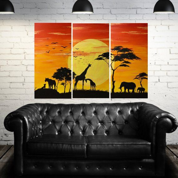 African Animal Triptych Africa Safari 3 Piece Painting Etsy In 2021 Sunset Canvas Painting African Art Paintings Africa Painting