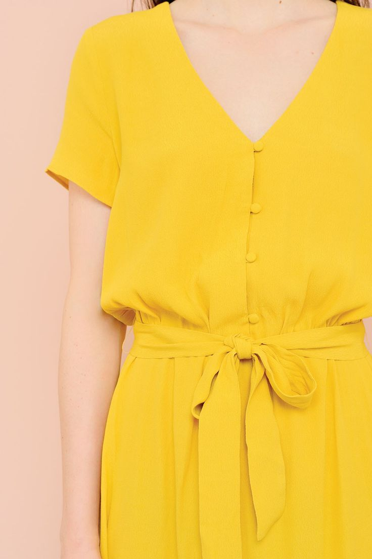 Robe sebka jaune - 100% viscose (crêpe) - des petits hauts 5