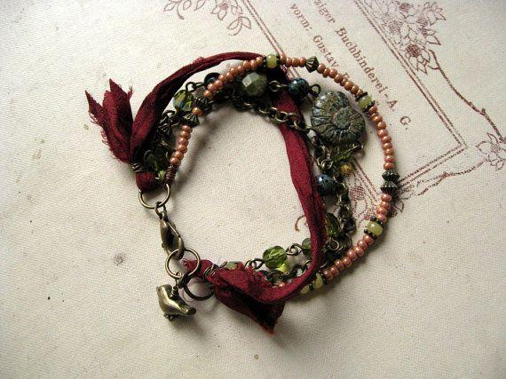 Gypsy Boho Hippie Multistrand Perlen Armband Glas Kette von Grioza
