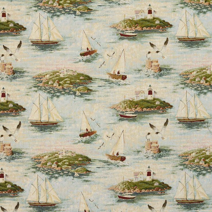 Beige+Green+Blue+and+Burgundy+Beach+or+Nautical+Themed+Upholstery+Fabric+with+Ships