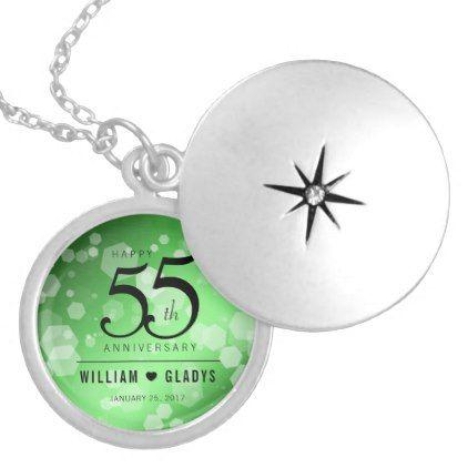 Elegant 55th Emerald Wedding Anniversary Silver Plated Necklace - anniversary gifts ideas diy celebration cyo unique