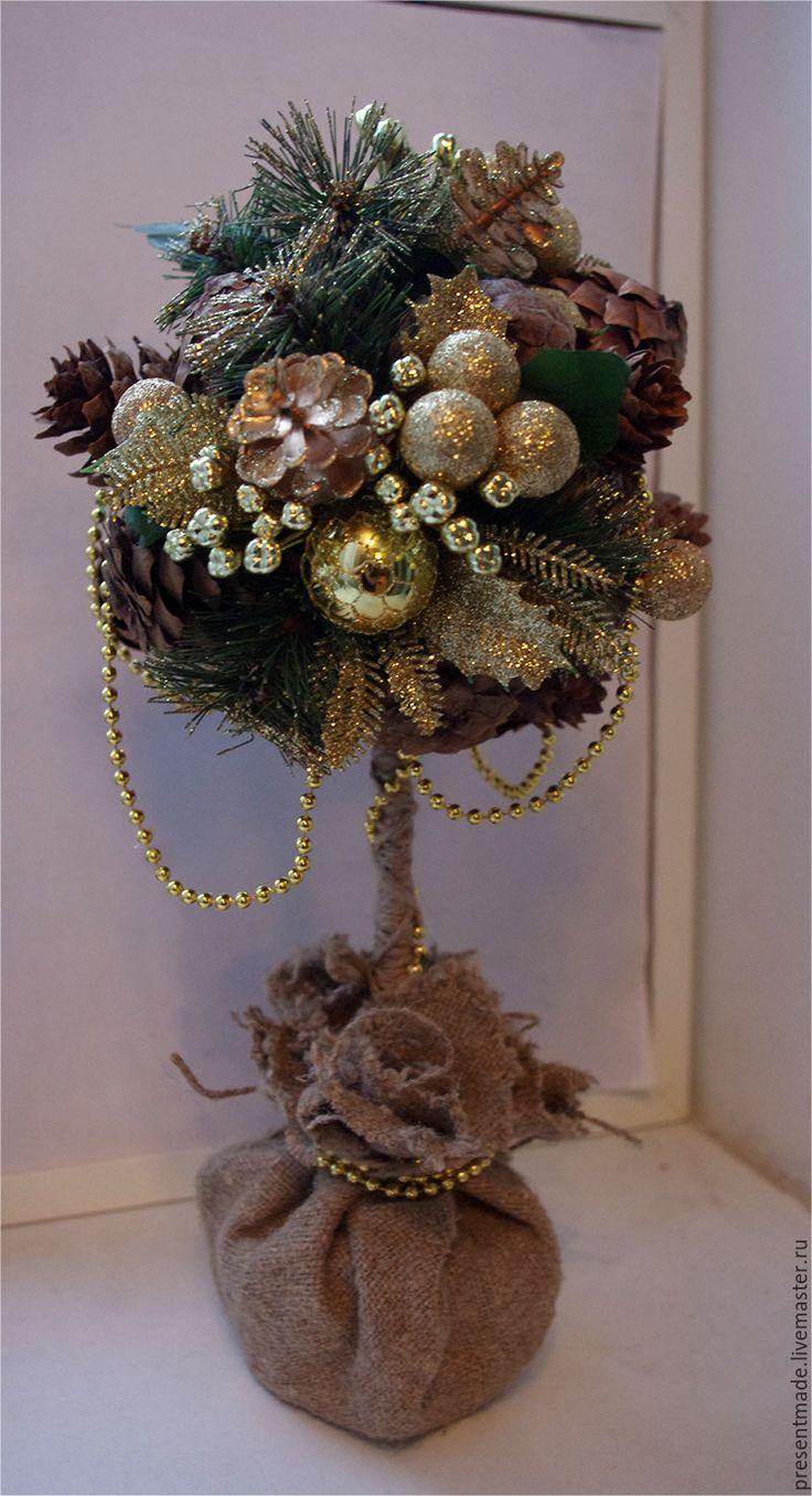 """Купить Топиарий """"Новогодний"""" - золотой, подарок, подарок на новый год, новогодний подарок, новогодний декор"""