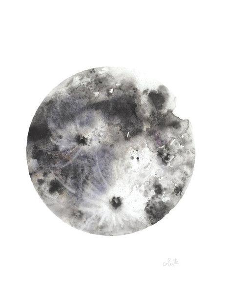 "The Moon - ""Luna"" watercolor poster print"
