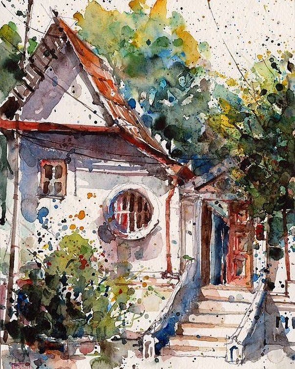 'Monk's residences' watercolor by Paul Wang @paulwang_sg Singapore. 'Дом…
