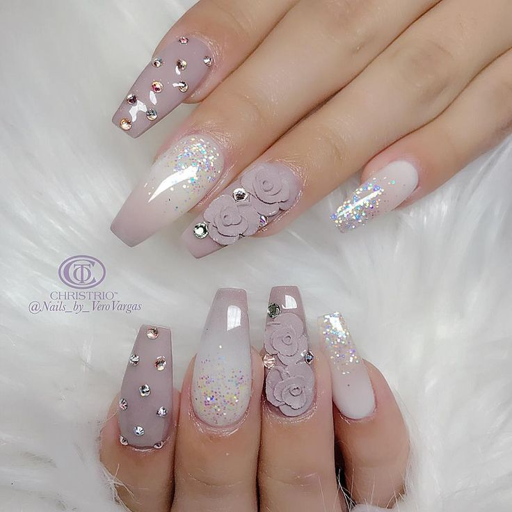 Mauve and White Nails - Tapered Square, roses and metal embellishments