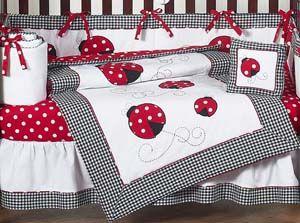 Red & White Polka Dot Ladybug Baby Girl Crib Set