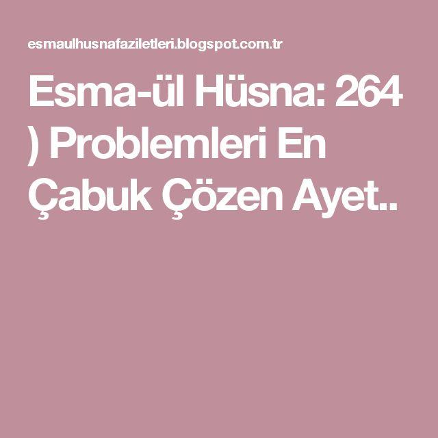 Esma-ül Hüsna: 264 ) Problemleri En Çabuk Çözen Ayet..