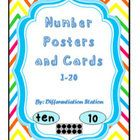 Rainbow Bright Chevron Number Posters and Cards Numbers 0-20  This is a set of Number posters and cards for your classroom.  $