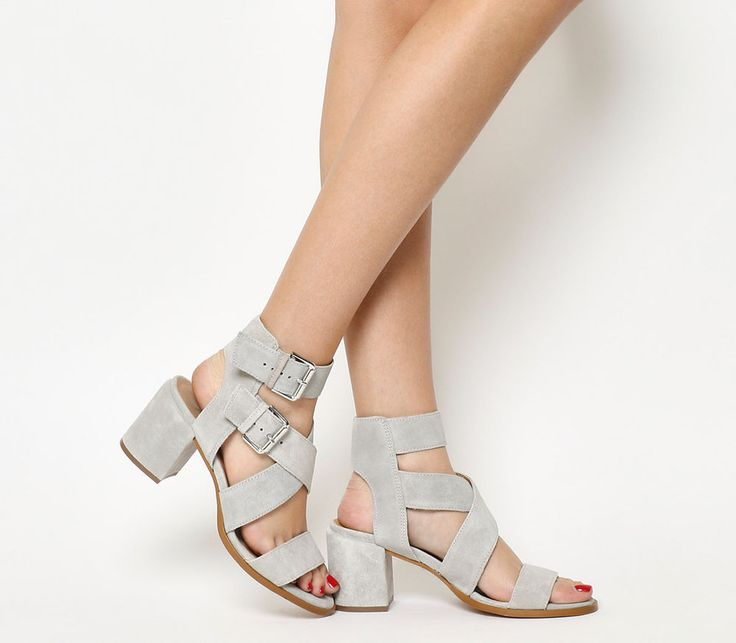 Womens Office Grey Suede Buckle Mid Heels UK Size 7 *Ex Display   eBay