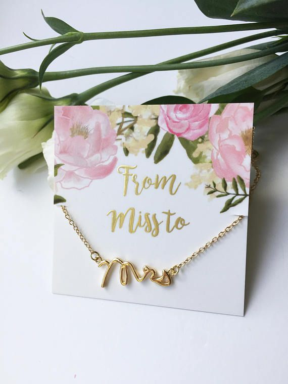 Bridal Shower Gift For Bride S Miss To Mrs Necklace Bachelorette Hens Party
