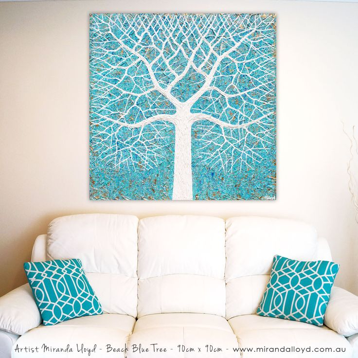 Beach Blues Tree textural painting. 90cm x 90cm. Check out my available artworks on Bluethumb online art gallery.