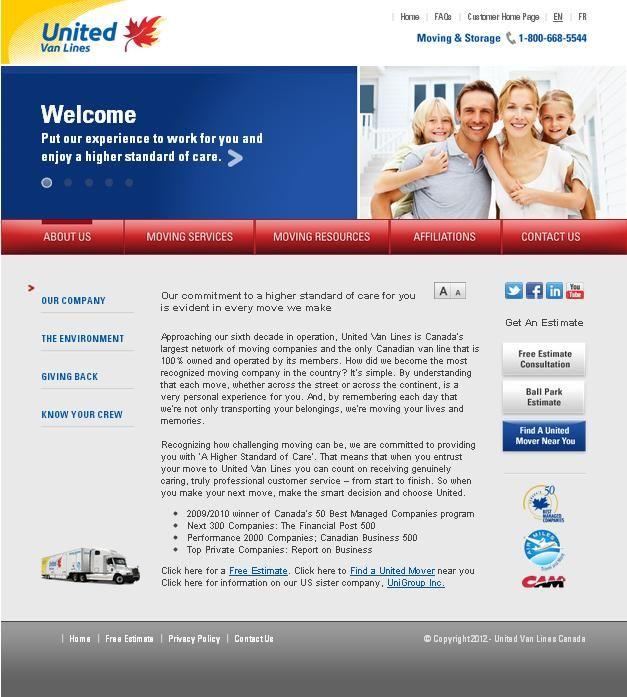 United Van Lines (Canada) Ltd. launched its new website October 1, 2010.