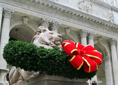New York Public Library Christmas Patience Fortitude lions