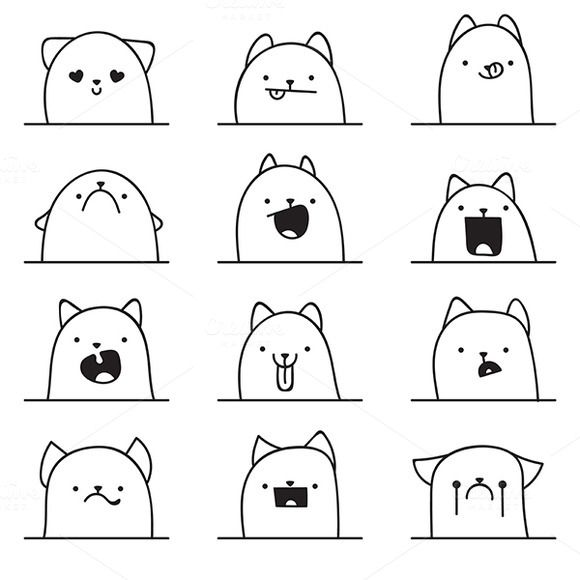 Set of 12 different doodle emotions by Lauritta on Creative Market