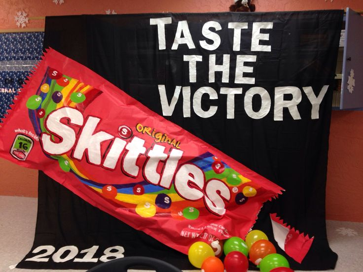 2014 SPIRIT WEEK 8th GRADE idea banner CANDY theme - Skittles are balloons. GREAT!