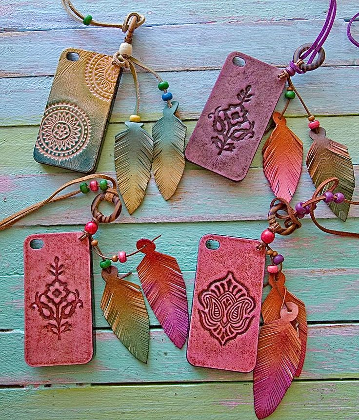 iPhone 5 & 4S embossed leather phone cases come with or