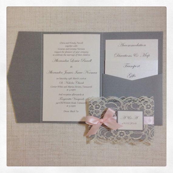 Rustic Wedding Invitation - Grey & pink wedding invitation with lace cuff…