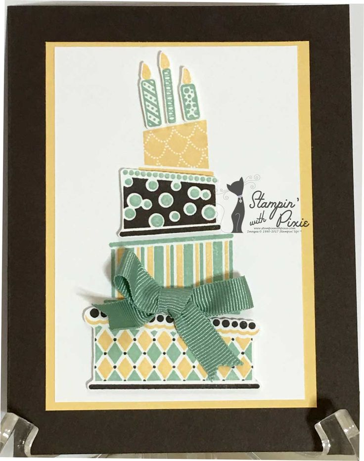 Cake Crazy birthday card by Stampin' With Pixie using Stampin' Up! Cake Crazy  stamp set, cardstock, inks and designer series paper. #StampinWithPixie #Stampin'Up! #birthdaycard #Birthday #CakeCrazyStampSet #EarlyEspresso #WhisperWhite #MintMacaron #SoSaffron #Stampin'Dimensionals  #2017OccasionsCatalog
