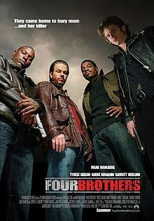 I love this movie!, Four Brothers is a 2005 American action film directed by John Singleton. The movie stars Mark Wahlberg, Tyrese Gibson, Andre Benjamin and Garrett Hedlund. The film was shot in Detroit, Michigan and Hamilton, Ontario, Canada.