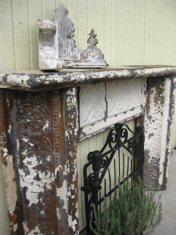 mantle made from antique tin ceiling tiles