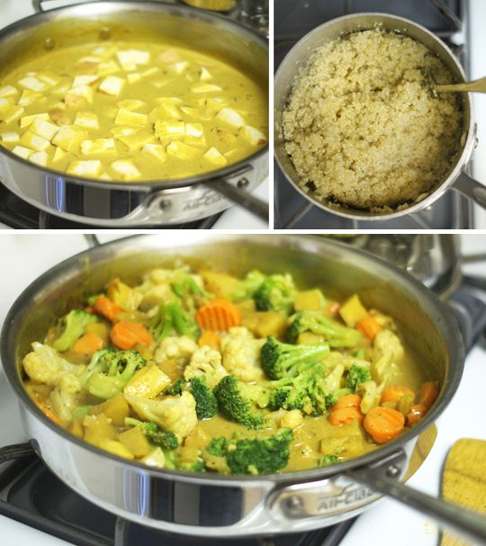 Easy Coconut Curry Sauce - Coconut oil, yellow onion, garlic, curry powder, coconut milk, tamari, maple syrup, salt [freeze in ice cube tray and add to grain and veggies for a quick meal]