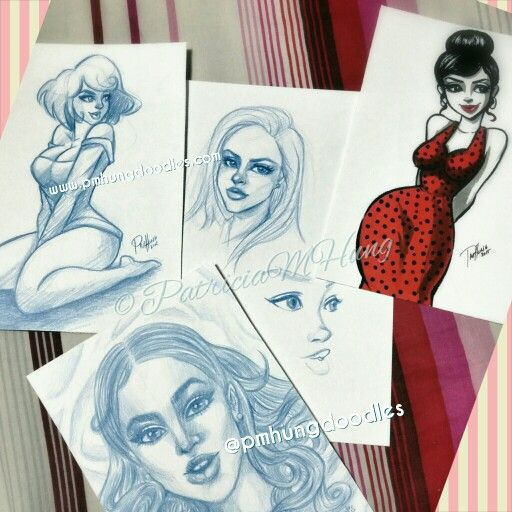 Random sketches Pin up art by Patricia M Hung  ©PatriciaMHung   http://www.pmhungdoodles.com  https://www.facebook.com/pmhungdoodles