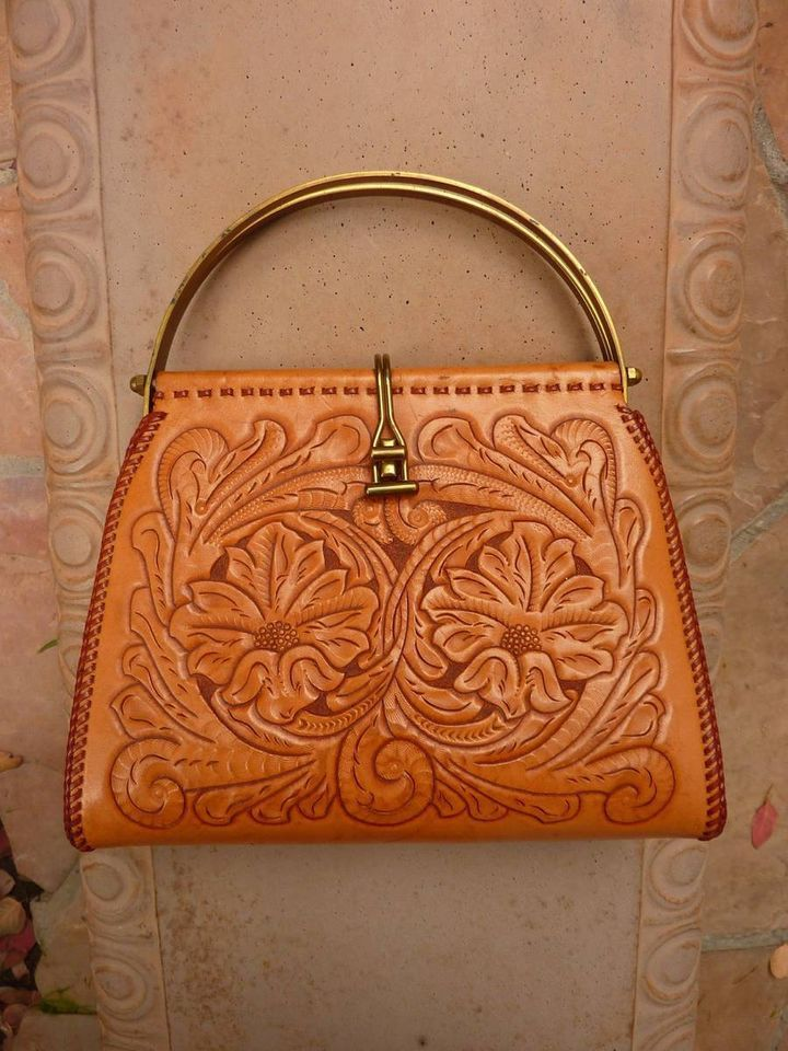 1940s 1950s Vintage Mexican Hand Tooled Leather & Solid Brass Purse